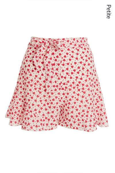 Petite White Heart Print Shorts